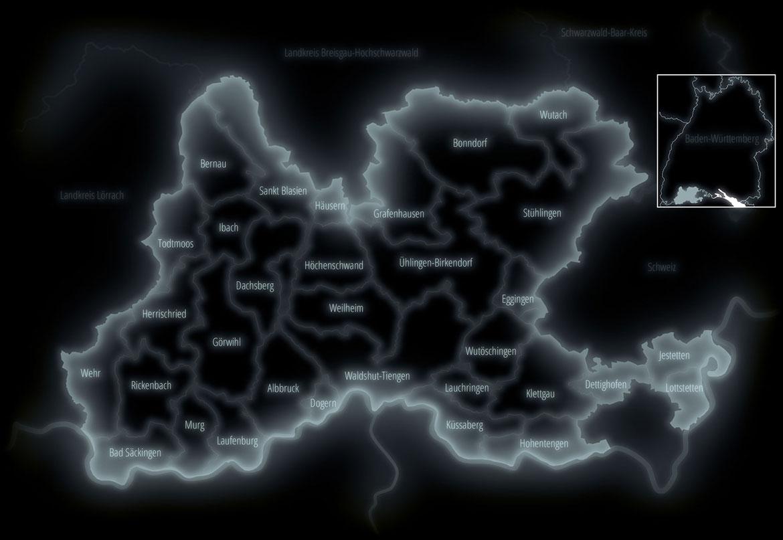 Landkarte Landkreis Waldshut